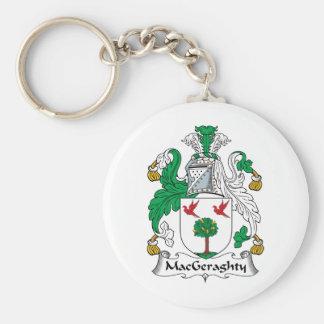 Escudo de la familia de MacGeraghty Llavero Redondo Tipo Pin
