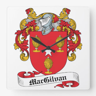 Escudo de la familia de MacGilvan Reloj Cuadrado
