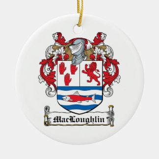 Escudo de la familia de MacLoughlin Adorno Redondo De Cerámica