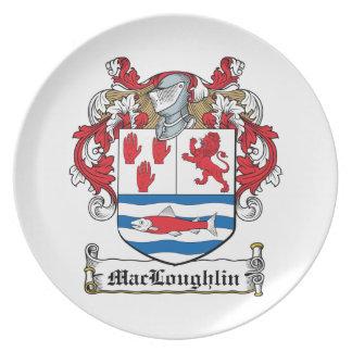 Escudo de la familia de MacLoughlin Plato Para Fiesta