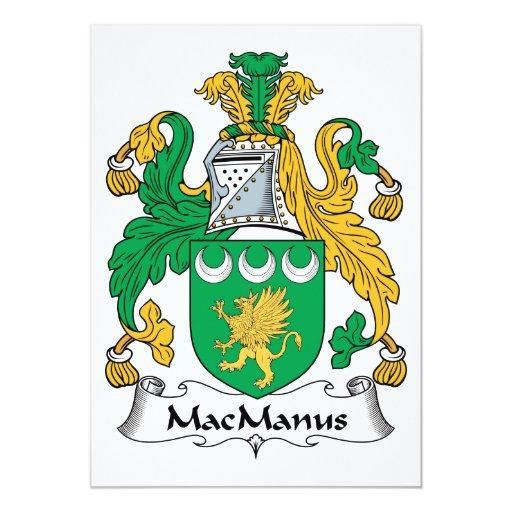 """Escudo de la familia de MacManus Invitación 5"""" X 7"""""""
