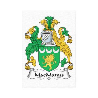 Escudo de la familia de MacManus Lienzo Envuelto Para Galerias