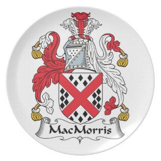 Escudo de la familia de MacMorris Plato Para Fiesta