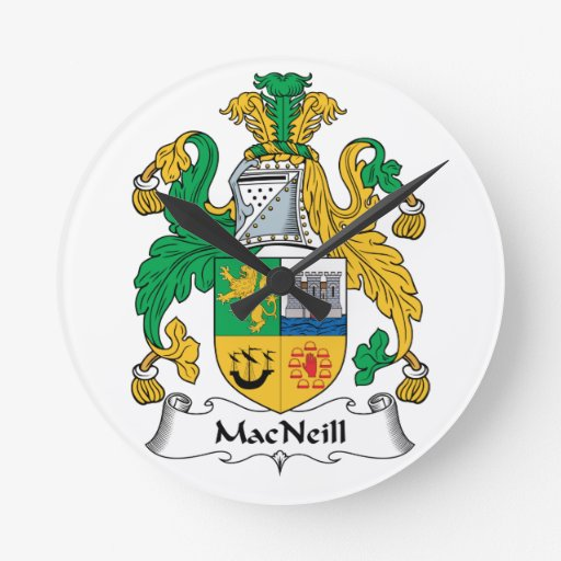 Escudo de la familia de MacNeill Reloj Redondo Mediano