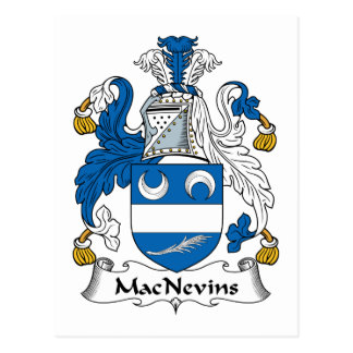Escudo de la familia de MacNevins Tarjeta Postal