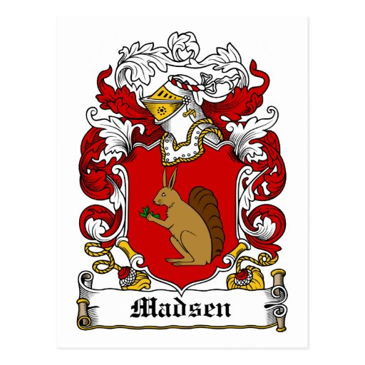 Escudo de la familia de Madsen Postal