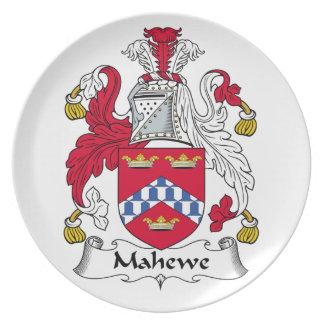 Escudo de la familia de Mahewe Platos Para Fiestas