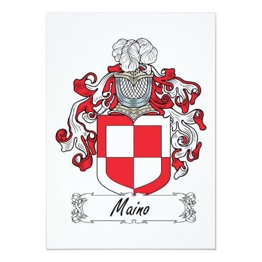 Escudo de la familia de Maino Invitación 12,7 X 17,8 Cm