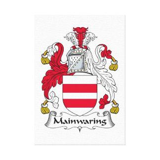 Escudo de la familia de Mainwaring Lona Envuelta Para Galerías