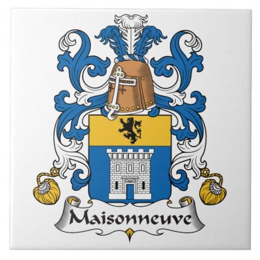 Escudo de la familia de Maisonneuve Azulejo Cuadrado Grande
