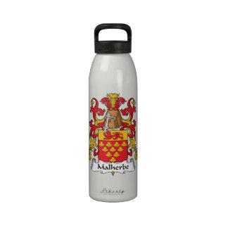 Escudo de la familia de Malherbe Botella De Agua Reutilizable