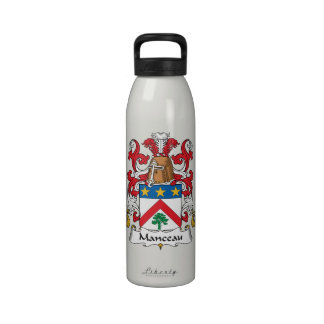 Escudo de la familia de Manceau Botella De Agua