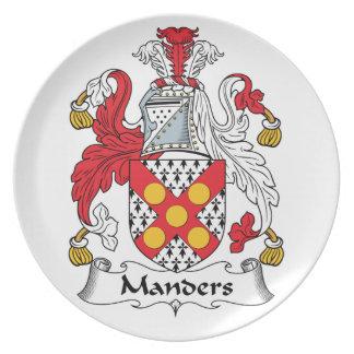 Escudo de la familia de Manders Platos De Comidas