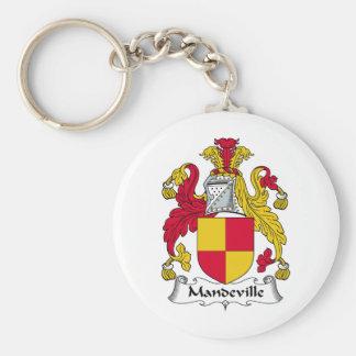 Escudo de la familia de Mandeville Llavero Redondo Tipo Pin
