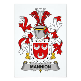 Escudo de la familia de Mannion Invitación 12,7 X 17,8 Cm