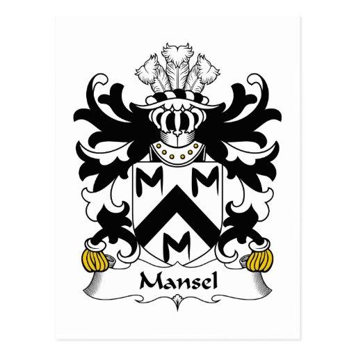 Escudo de la familia de Mansel Postales