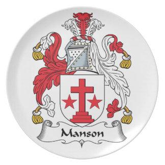 Escudo de la familia de Manson Platos Para Fiestas
