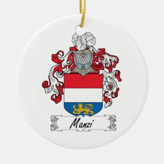 Escudo de la familia de Manzi Adorno Navideño Redondo De Cerámica