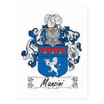 Escudo de la familia de Manzini Tarjetas Postales