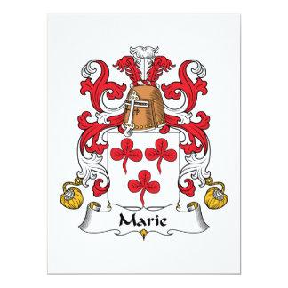 Escudo de la familia de Marie Invitación 16,5 X 22,2 Cm