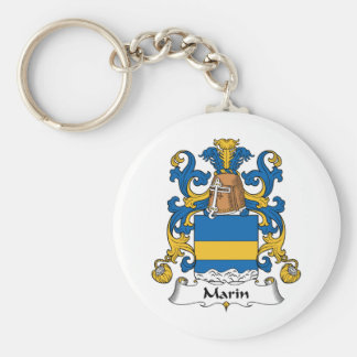 Escudo de la familia de Marin Llavero Redondo Tipo Pin