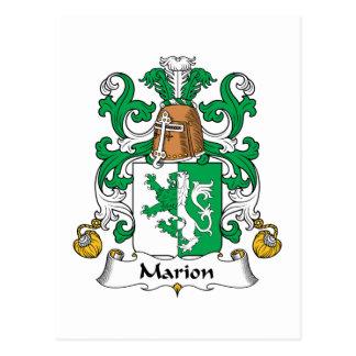 Escudo de la familia de Marion Tarjeta Postal