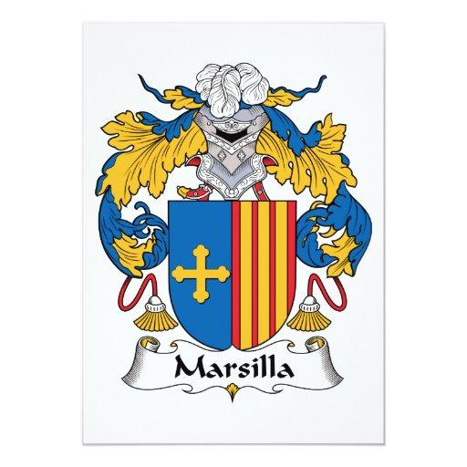 """Escudo de la familia de Marsilla Invitación 5"""" X 7"""""""