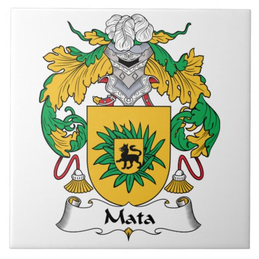 Escudo de la familia de Mata Azulejo Cuadrado Grande