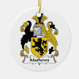 Escudo de la familia de Mathews Adorno Redondo De Cerámica