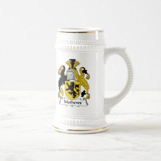 Escudo de la familia de Mathews Jarra De Cerveza
