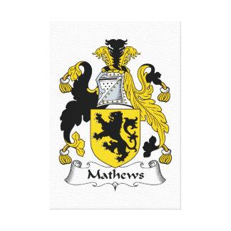 Escudo de la familia de Mathews Impresiones En Lienzo Estiradas