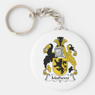 Escudo de la familia de Mathews Llavero Redondo Tipo Pin