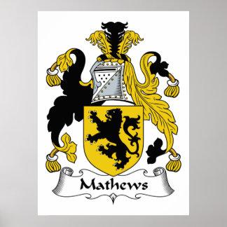 Escudo de la familia de Mathews Póster