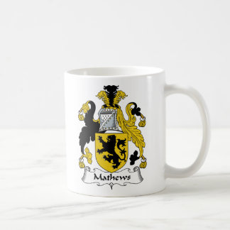 Escudo de la familia de Mathews Taza Básica Blanca