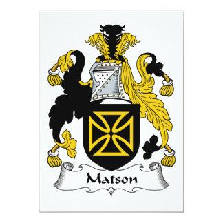 Escudo de la familia de Matson Invitación 12,7 X 17,8 Cm