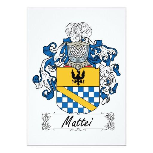Escudo de la familia de Mattei Invitación 12,7 X 17,8 Cm