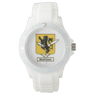 Escudo de la familia de Matthews Reloj De Mano