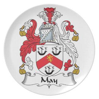 Escudo de la familia de mayo plato para fiesta