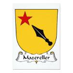 Escudo de la familia de Mazereller Invitación 12,7 X 17,8 Cm