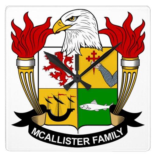 Escudo de la familia de McAllister Reloj Cuadrado