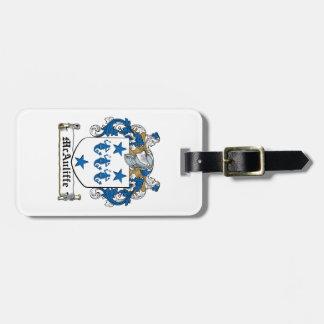 Escudo de la familia de McAuliffe Etiqueta Para Maleta