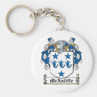 Escudo de la familia de McAuliffe Llavero Redondo Tipo Pin