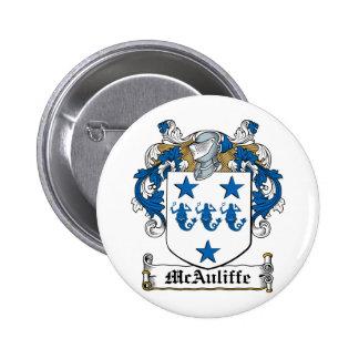 Escudo de la familia de McAuliffe Pin Redondo 5 Cm