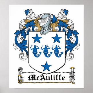Escudo de la familia de McAuliffe Póster