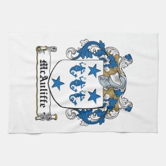Escudo de la familia de McAuliffe Toalla
