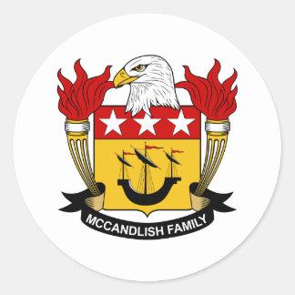 Escudo de la familia de McCandlish Pegatina Redonda