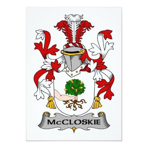 """Escudo de la familia de McCloskie Invitación 5"""" X 7"""""""