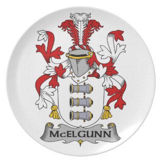 Escudo de la familia de McElgunn Plato Para Fiesta