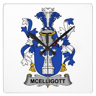 Escudo de la familia de McElligott Reloj Cuadrado