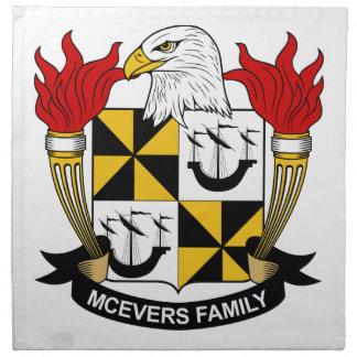 Escudo de la familia de McEvers Servilletas